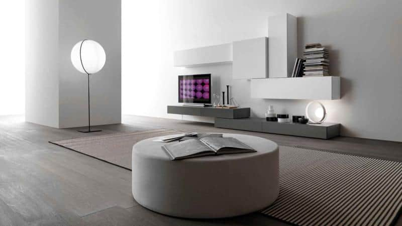 White and Grey Modern Living Room Furniture Design