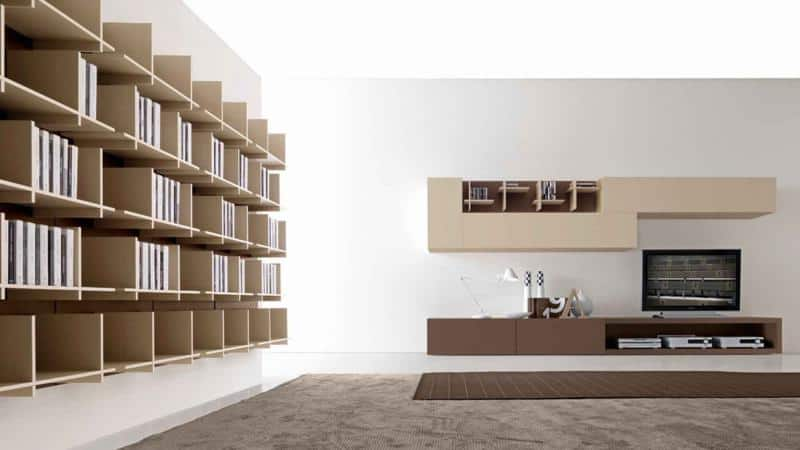 Minimal Living Room Design With Library