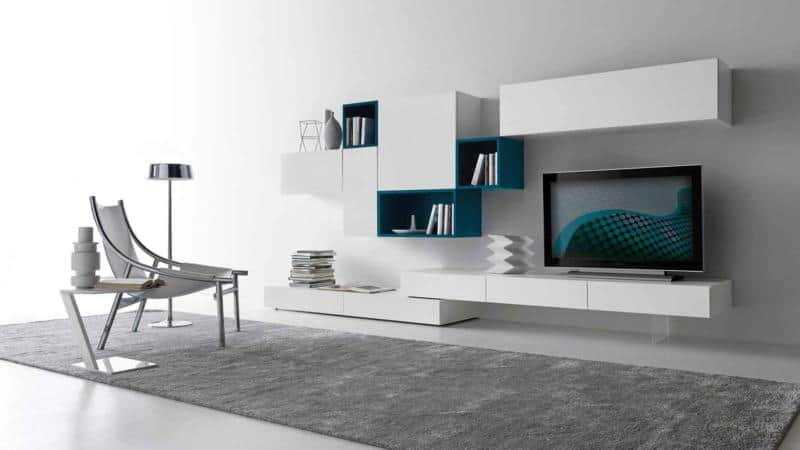 Modular Living Room Design in White Color