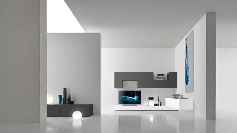White and Grey Minimal Living Room Design