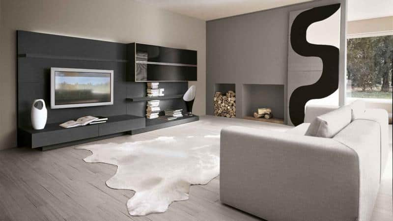 Dark Living Room Furniture Design with Wall Paneling