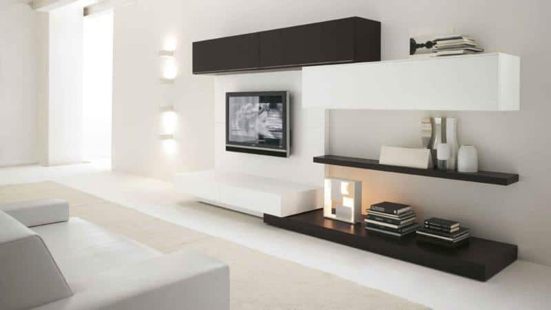 Minimal Living Room Furniture Design with TV