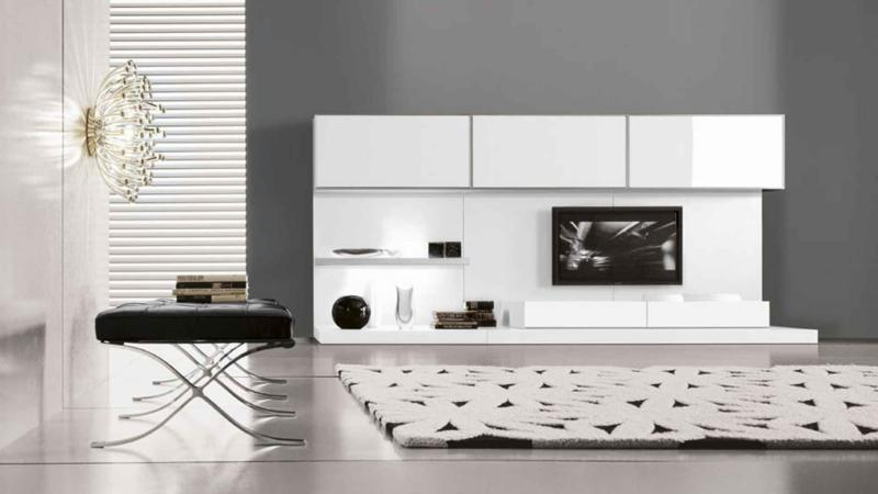 Modern White Living Room Design with Wall Paneling