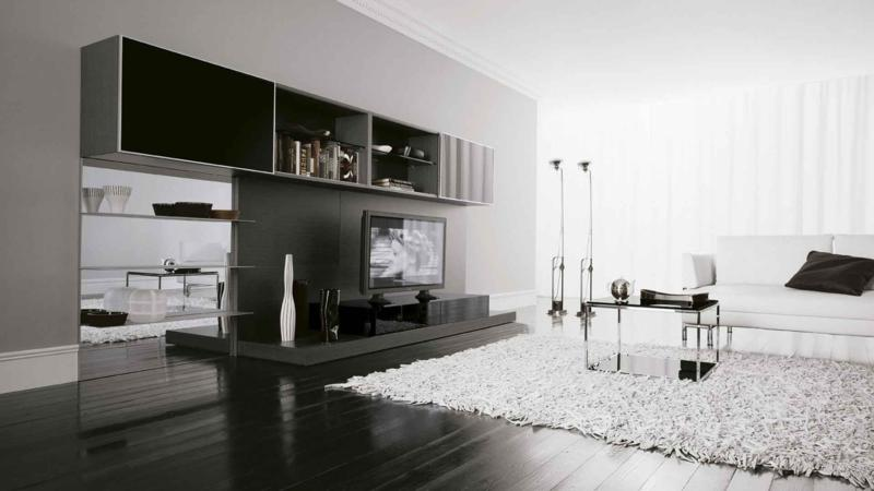 Simple Living Room Furniture Design with TV and Wall Paneling