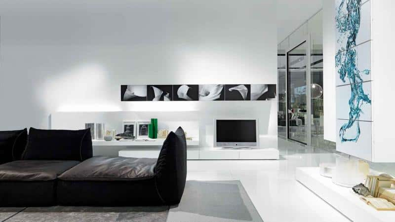 Minimal White Color Living Room Furniture Design