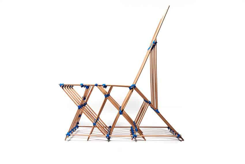 Chair made from Dowels and Elastic by Benjamin Mahler