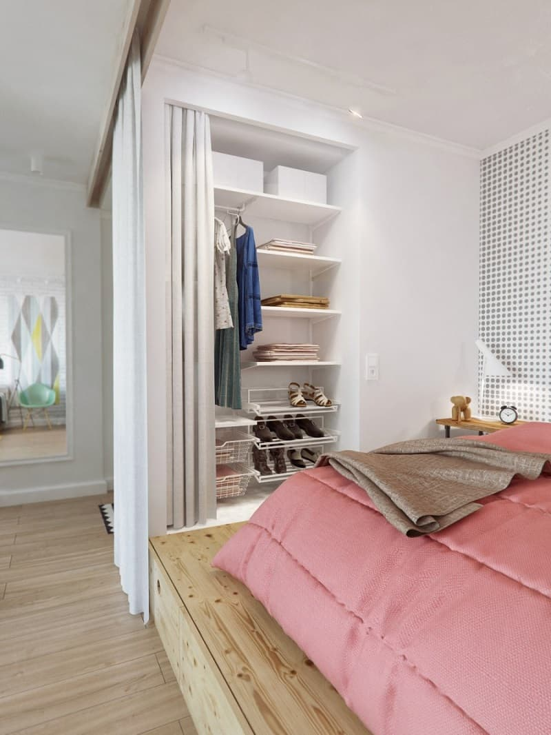 small and comfortable apartment in pastel tones