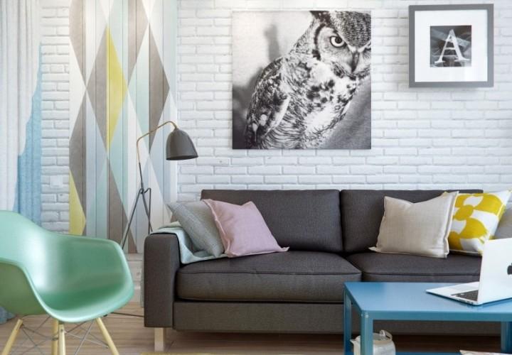 small comfortable apartment in pastel tones