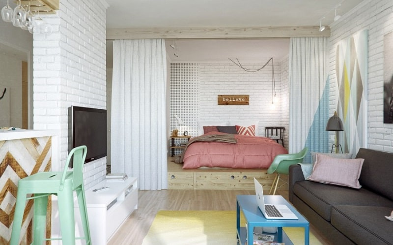 small comfortable_apartment in pastel tones