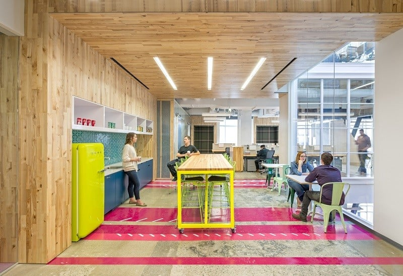 Colorful interior for the employees at Capital One Labs