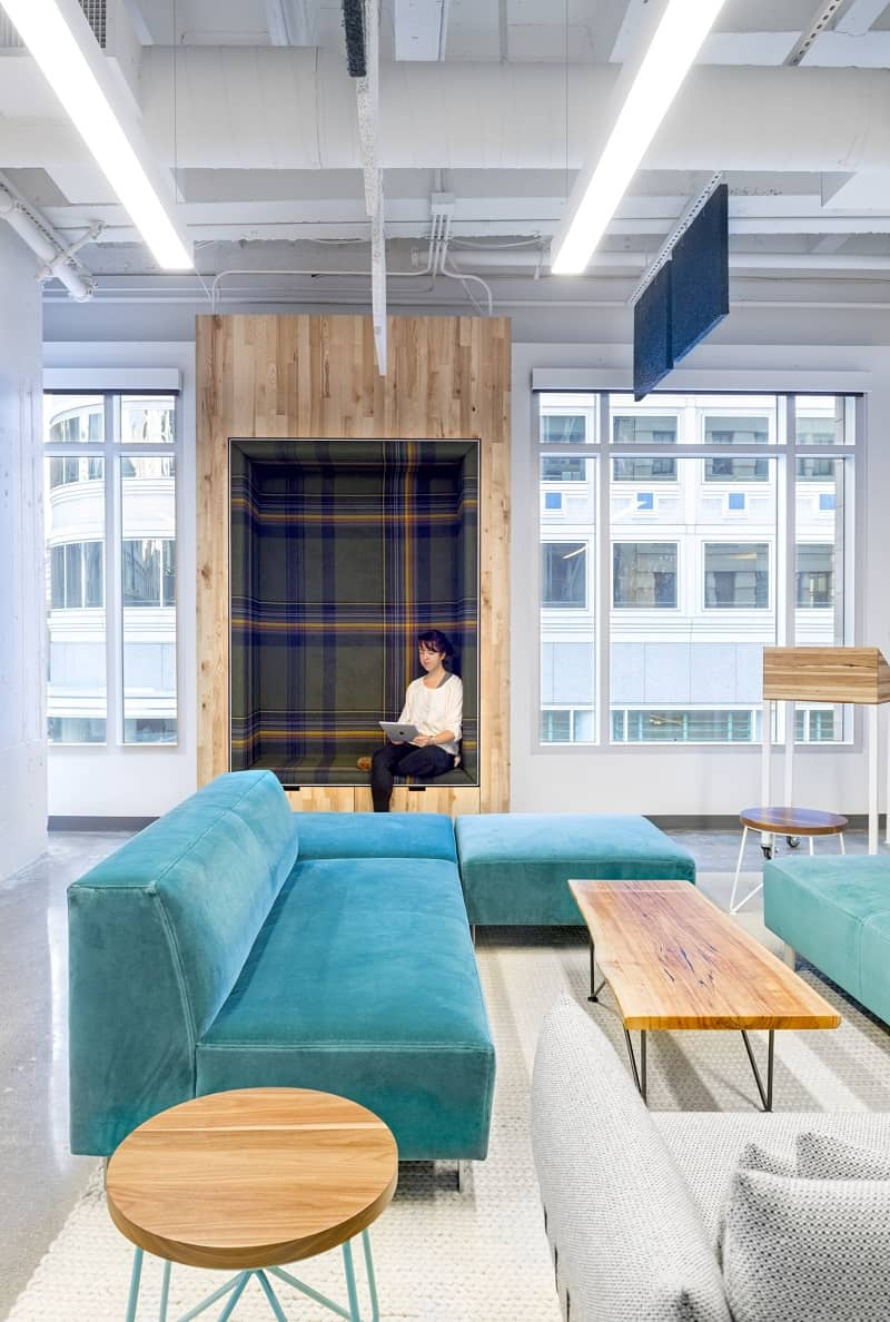 Colorful interior for the employees at Capital One Labs1