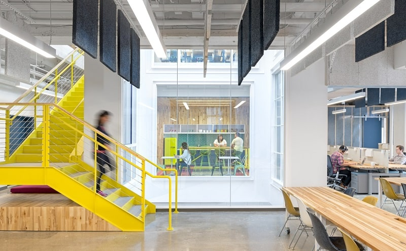 Colorful interior for the employees at Capital One Labs5
