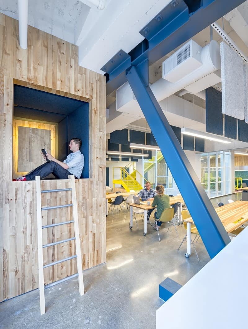 Colorful interior for the employees at Capital One Labs7