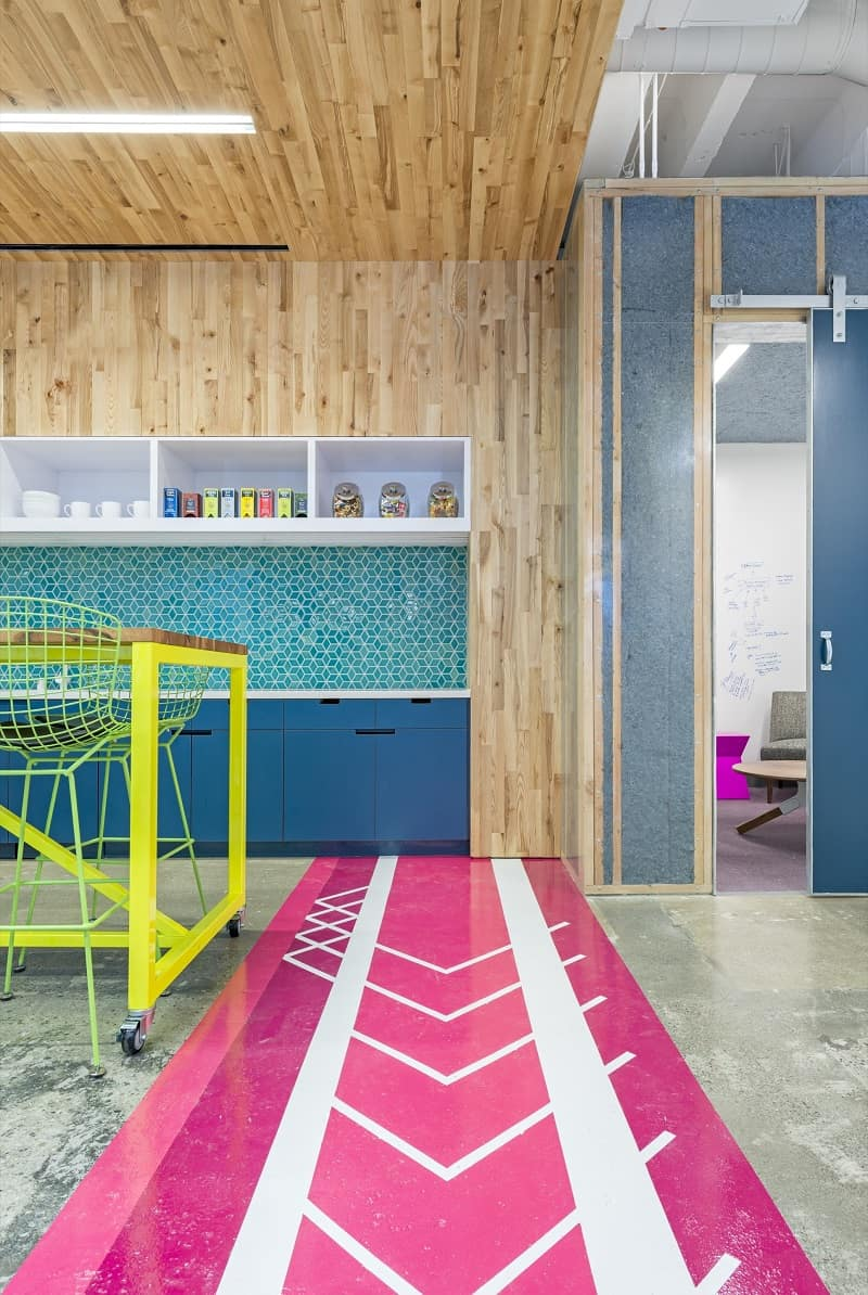 Colorful interior for the employees at Capital One Labs8
