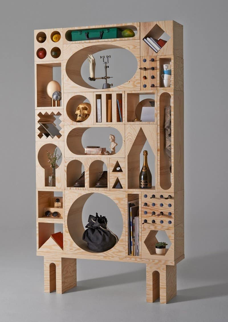 Modular shelving system with stackable blocks