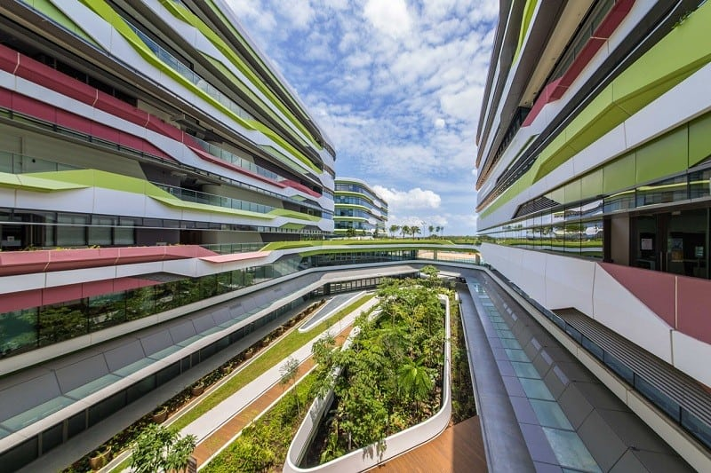University campus in Singapore with contemporary design