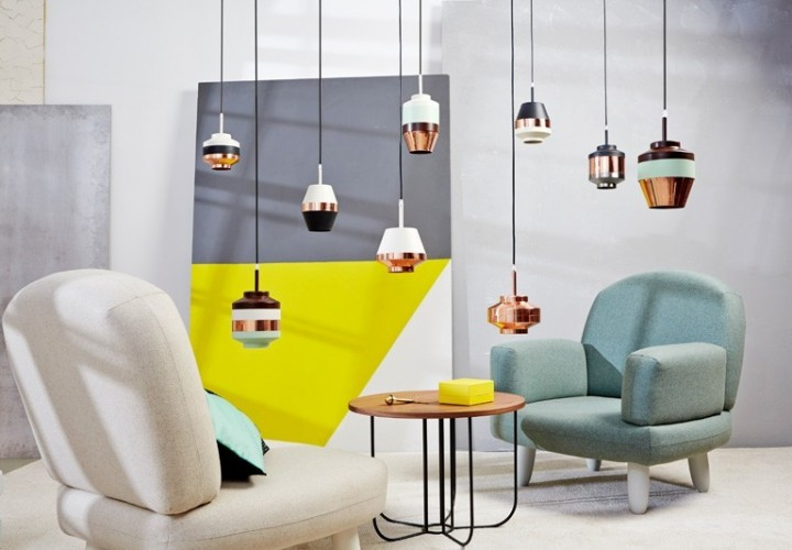 Modern decor and lamps in pastel tones