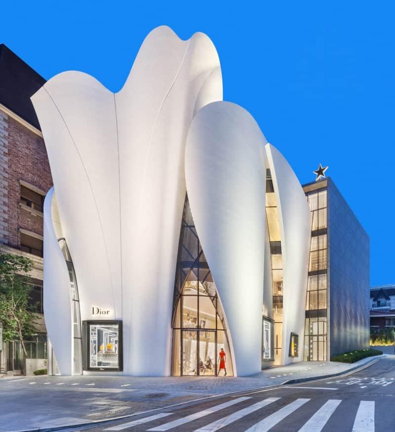 Dior's boutique in Seoul looks like a delicate calla