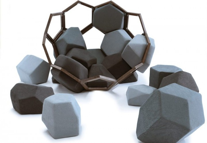 Playful armchair inspired by the shape of the crystals