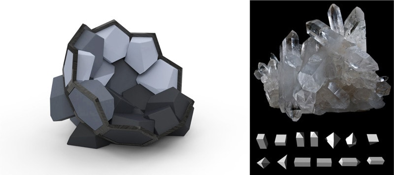 Playful armchair inspired by the shape of the crystals3