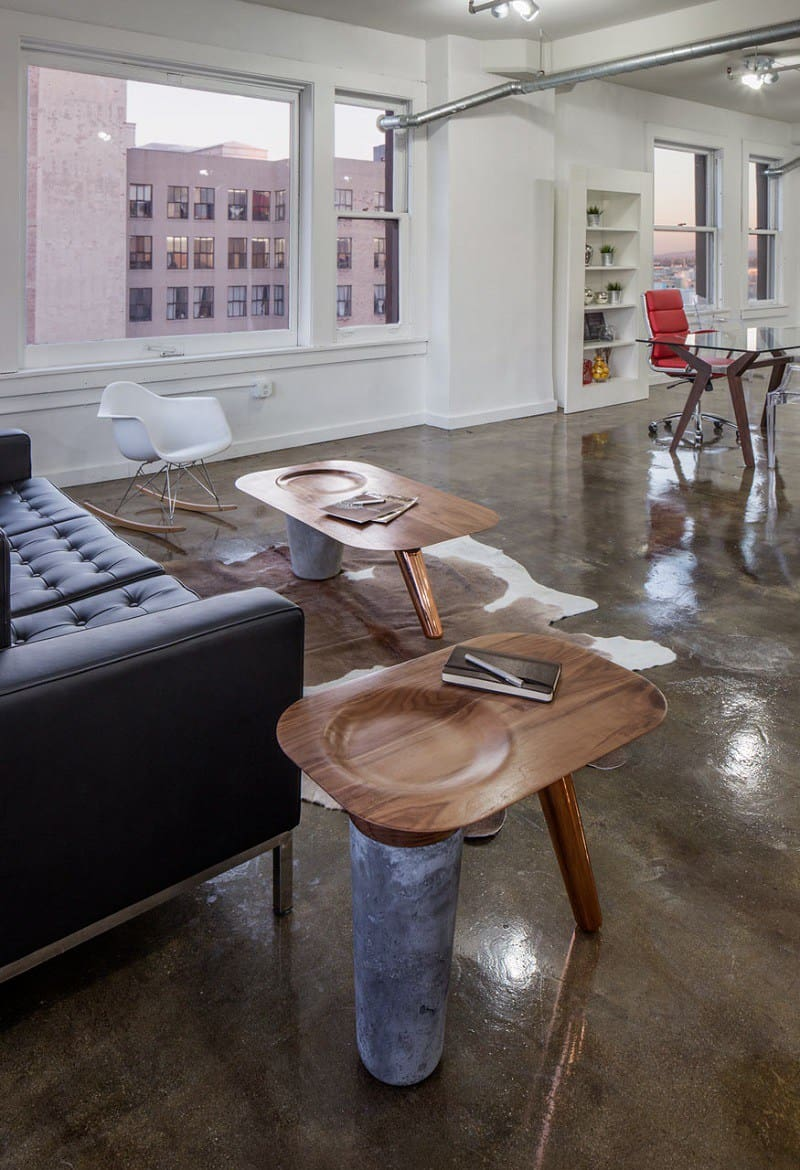 Awesome tables made of wood, concrete and copper4