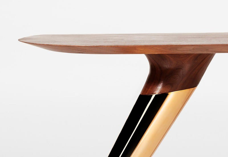 Awesome tables made of wood concrete and copper