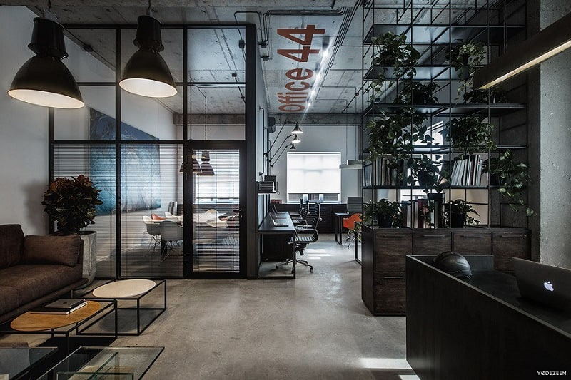 Cool offices in industrial style for Interior design companies in usa