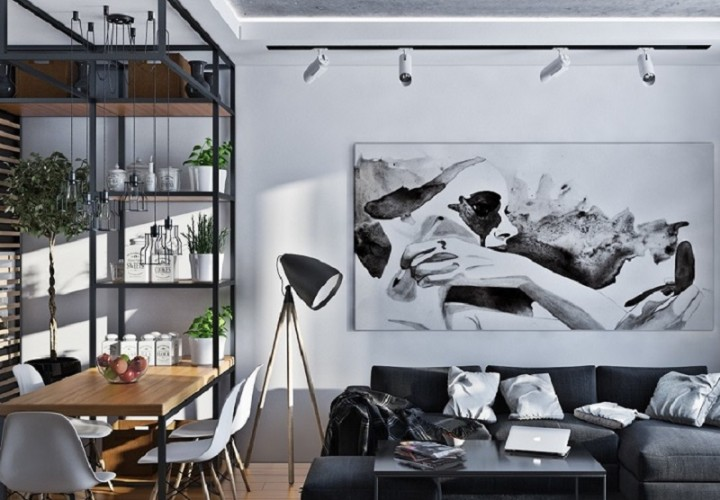 Artistic apartment with monochromatic color scheme