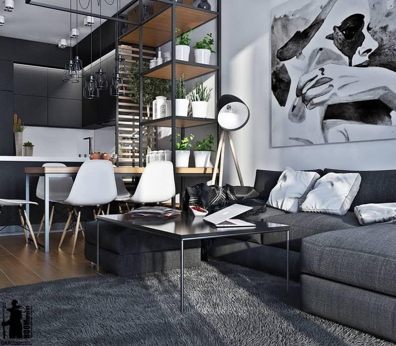 Artistic apartment with monochromatic color scheme2