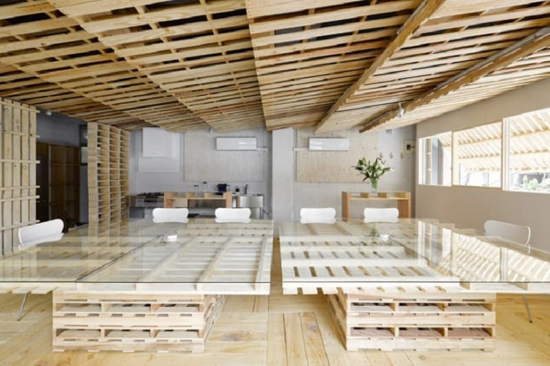 Tokyo office renovated with 130 shipping pallets7