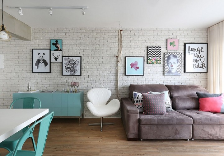 Romantic interior with pastel tones in São Paolo