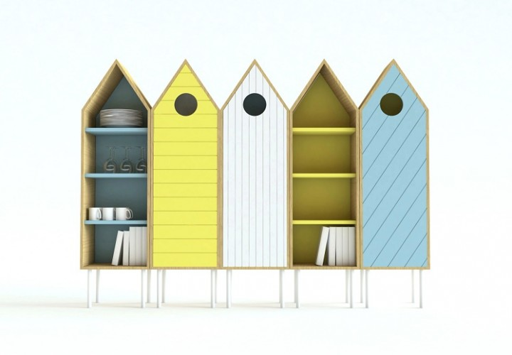 Cute sideboard inspired by the wooden beach cabins