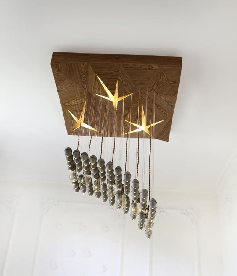 Extravagant chandelier made of concrete elements5