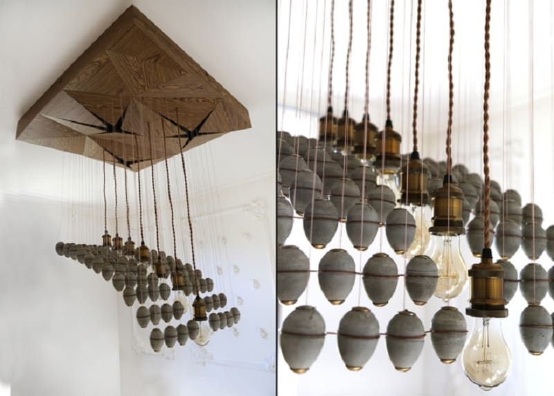 Extravagant chandelier made of concrete elements7