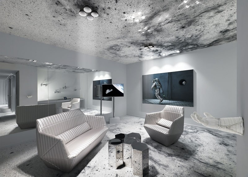 Travel through spacein the interior of the hotel Kameha Grand Zürich