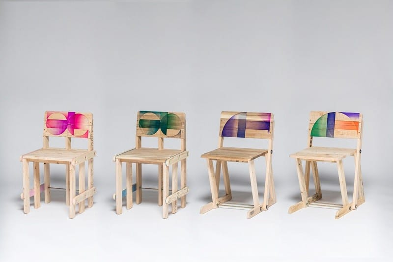 Wooden pallets transformed into vibrant designer chairs