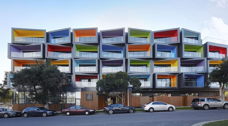 Spectrum Apartments - a residential building with colorful architectural character1