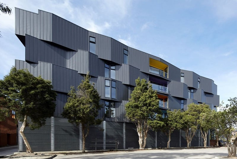 Spectrum Apartments - a residential building with colorful architectural character2