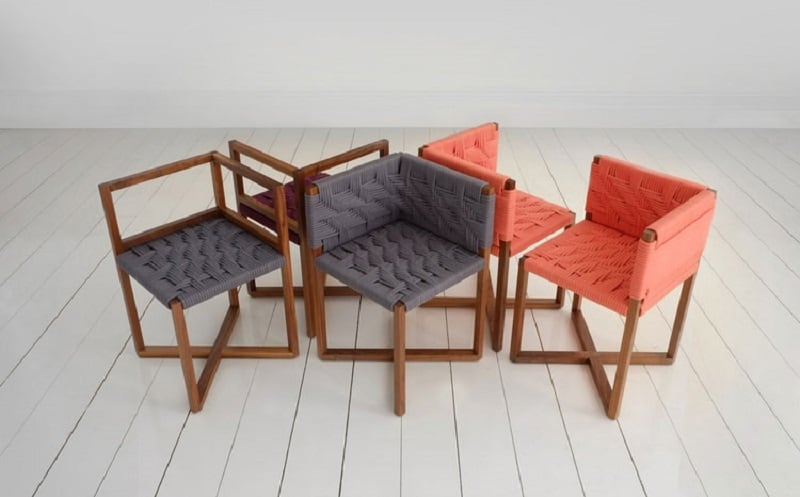 Playful furniture inspired by the traditional woven chairs