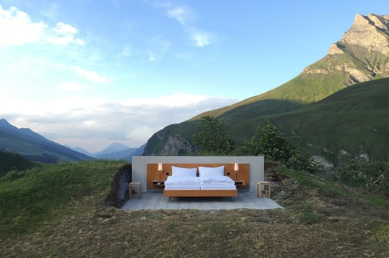 Hotel under the open sky on the Swiss Alps