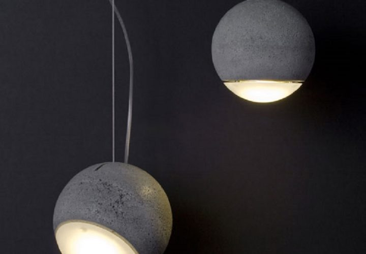 Trabant, spherical lamp made of concrete and glass