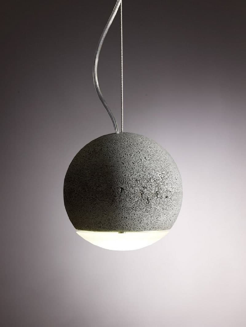 Trabant, spherical lamp made of concrete and glass1