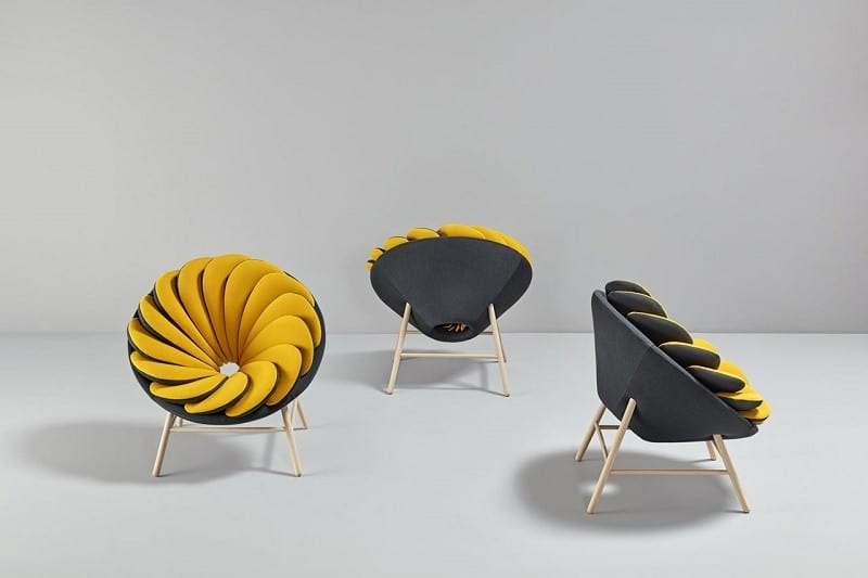 Quetzal, a comfortable armchair inspired by tropical birds