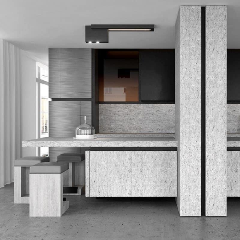Elegant gray kitchen made of stone