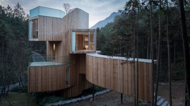 Relaxing hotel in nature with interesting geometric shape