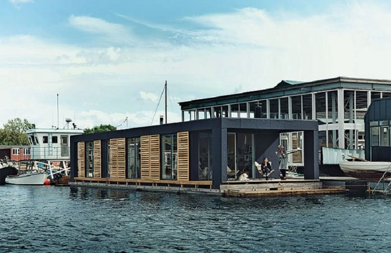 A modern house on water in Copenhagen