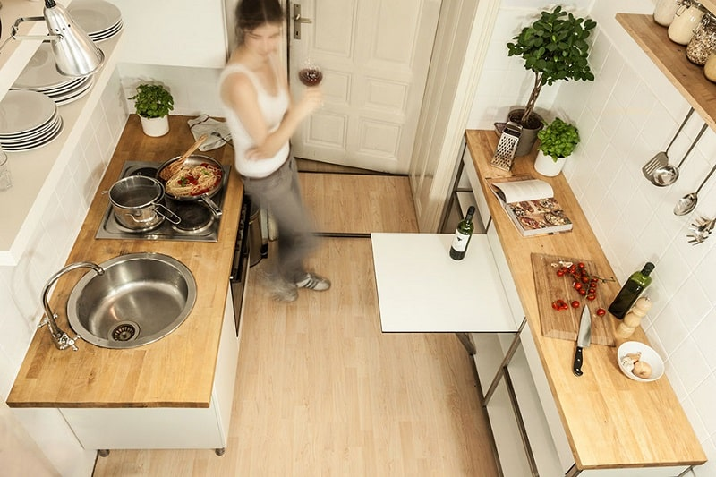 Practical Multifunctional Element For Small Kitchens