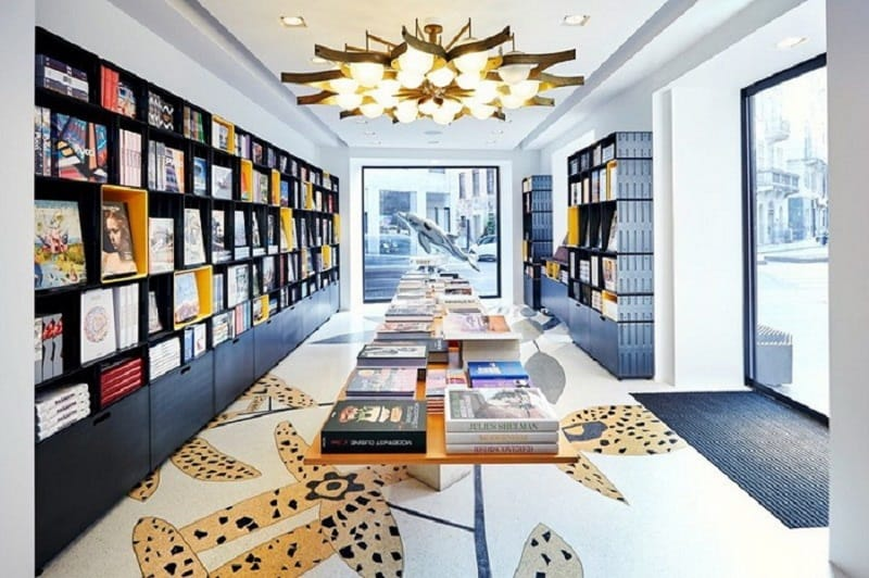 Bold interior of Taschen bookstore in Milan