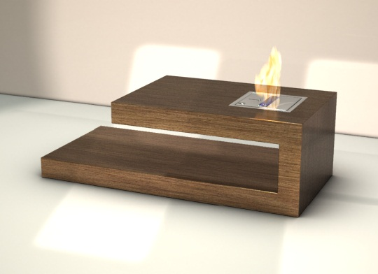 coffee table with fire place