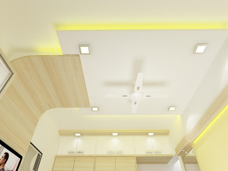 false POP roof in bedroom design